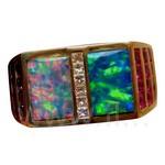 Opal Sapphire Ruby Ring