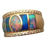 Wide Band Opal and Diamond Ring