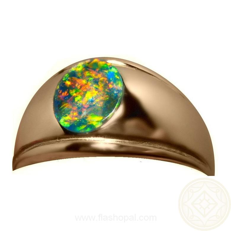 Black Opal Ring With Red For Men 14k Gold Flashopal