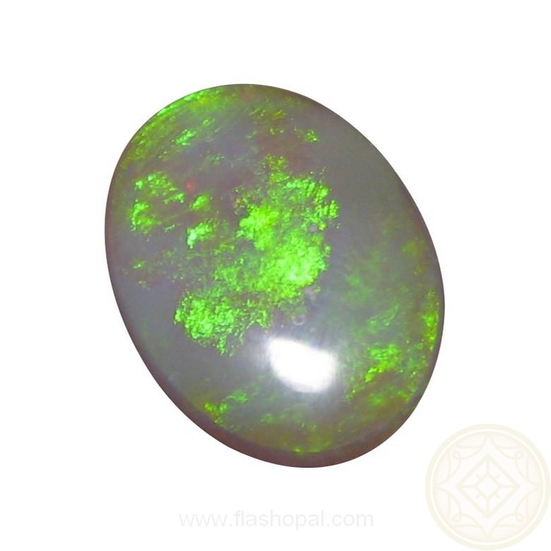 Large Oval Semi Crystal Opal 8 93 Carat Lime Green Flashopal