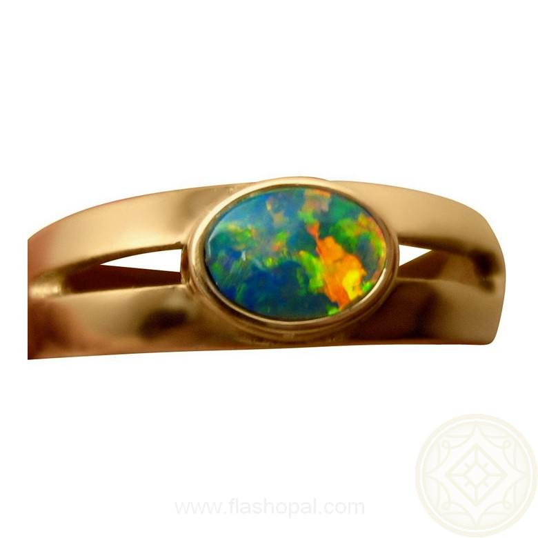 opal ring 14k gold oval split band