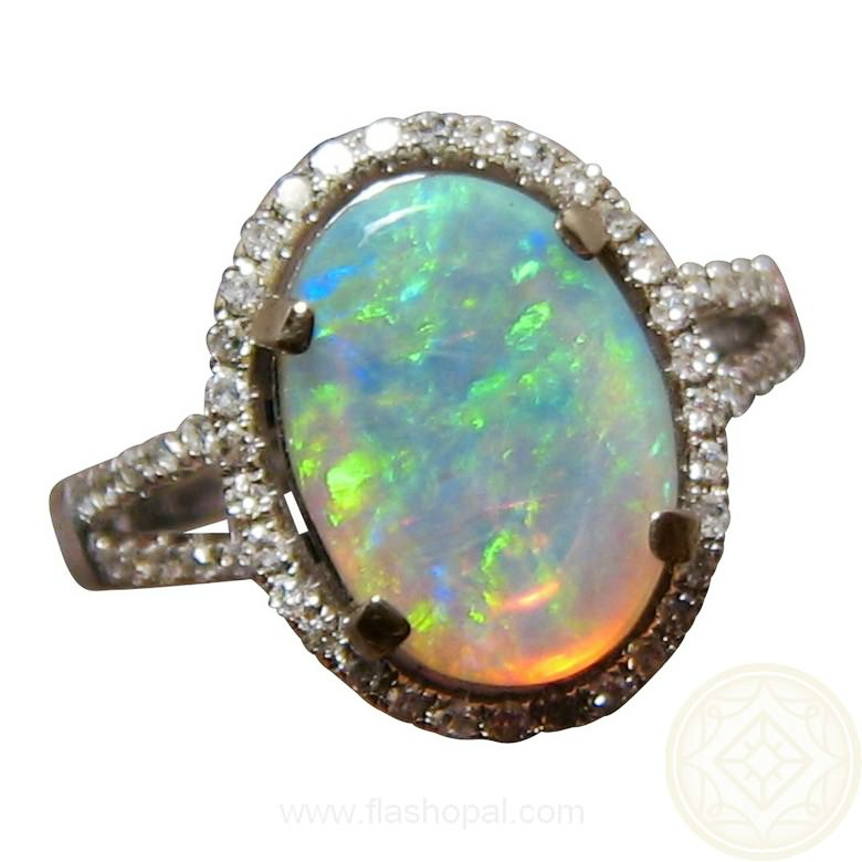 oval opal ring 14k gold flashopal