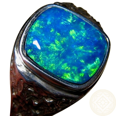 mens opal ring square nugget design blue green gem flashopal