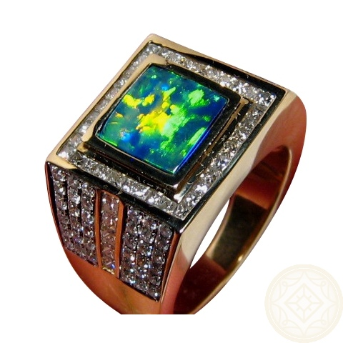 Mens Ring Square Opal And Lots Of Diamonds 14k Gold