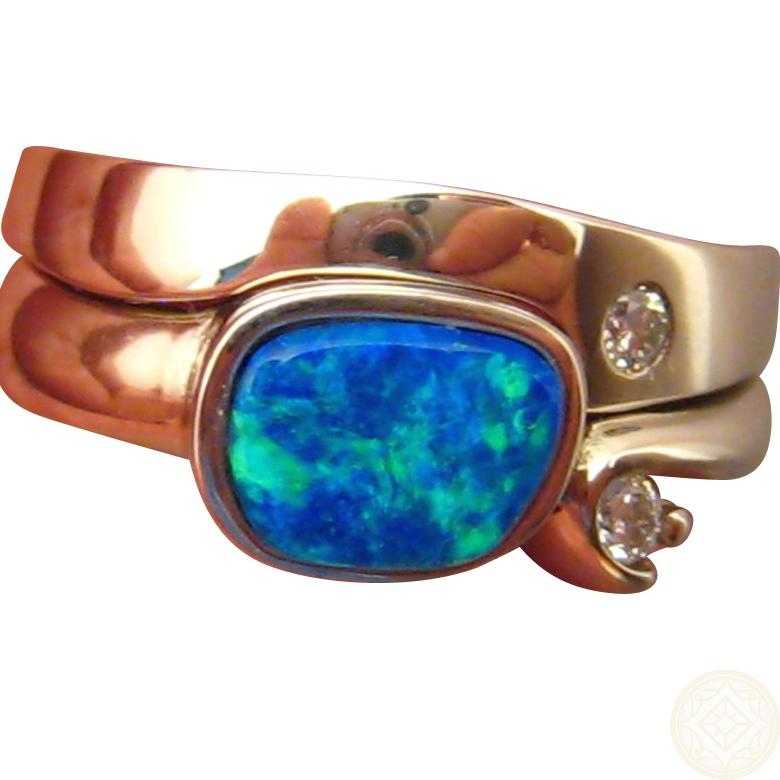 Blue Opal Engagement Wedding Ring Set 14k Gold