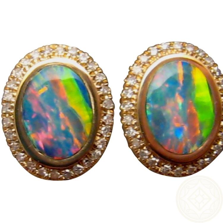 Oval Diamond Earrings Studs Oval Opal And Diamond Stud