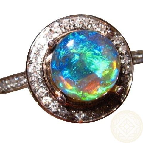 Black Opal Diamond Ring Halo Design