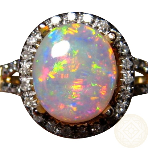 Exceptional Opal And Diamond Ring In 14k Gold