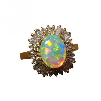 Crystal Opal Diamond Ring Colorful Oval 14k Gold