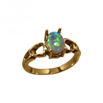 Solitaire Opal Ring 14kt Gold Green Blue Stone