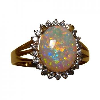 2 Carat Crystal Opal Ring with Diamonds 14k Gold