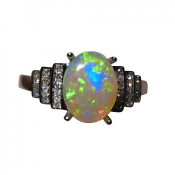 Opal Ring with Diamonds 14k Gold Oval Green Blue