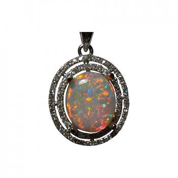 Red Opal Pendant with Diamonds 14k Gold