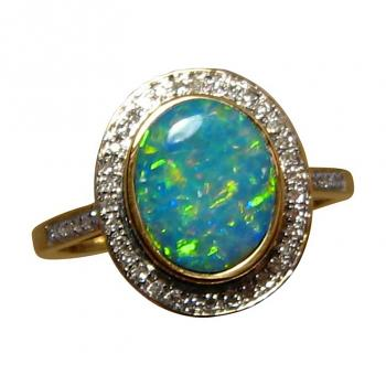 Opal Diamond Ring 14k Gold Colorful Oval