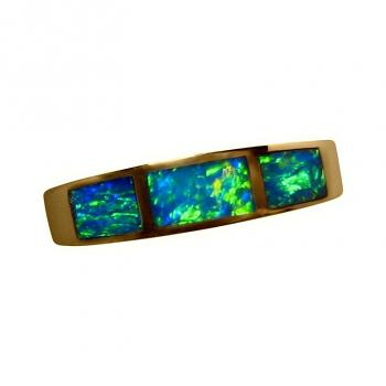 Inlay Opal Ring 14k Gold with Three Gems