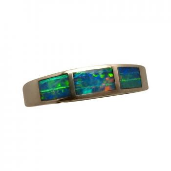 Inlay Opal Ring Three Colorful Gems 10k Gold