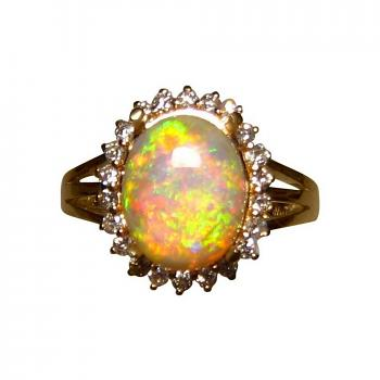 Gem Crystal Opal Ring with Diamonds 14k Gold