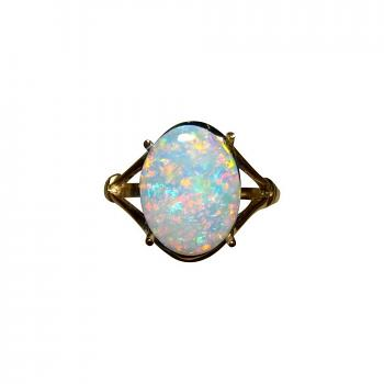 Red Crystal Opal Ring 14k Gold