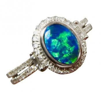 Opal Ring with Diamonds Oval Green Blue Stone