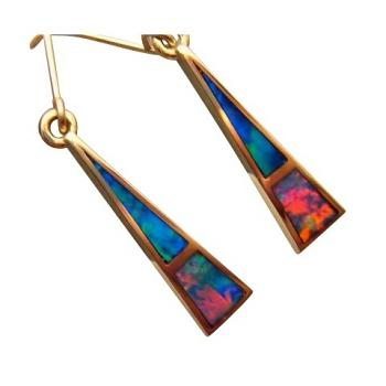 Red Blue Opal Earrings 14k Gold Triangle Extremely Bright Gems