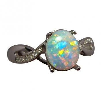 Elegant Opal Ring with Diamonds 14k Gold Bright Color Oval
