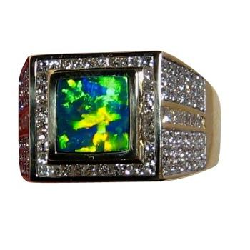Ultimate Mens Opal Diamond Ring 14k Gold Big and Heavy