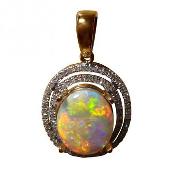 Opal and Diamond Halo Pendant 14k Gold Red Yellow Oval