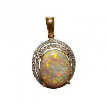Large Crystal Opal and Diamond Pendant 14k Gold Bright Colors