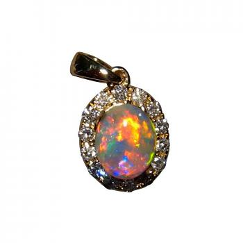 Opal and Diamond Pendant 14k Gold Extremely Bright Red Gem