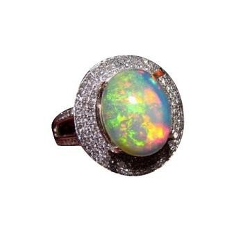 Large Ethiopian Opal and Diamond Ring 14k Gold