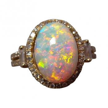 Opal And Diamond Gold Engagement Rings