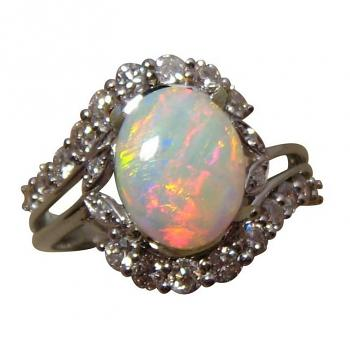 Crystal Opal Diamond Ring 14k Gold Red Yellow Gem