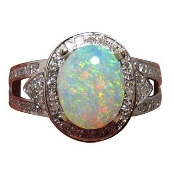 Oval Crystal Opal and Diamond Ring 14k Gold Bright Multi Color Gem