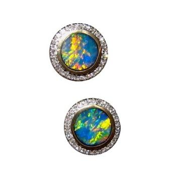 Round Opal and Diamond Stud Earrings 14k Gold Brilliant Colors