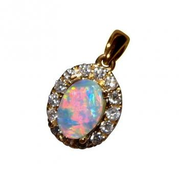 Red Crystal Opal and Diamond Pendant 14k Gold