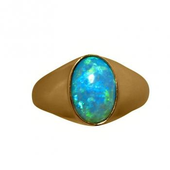 Mens Opal Ring 14k Gold Green Blue Oval Stone