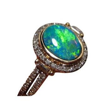 Opal Diamond Ring 14k Gold Green and Gold Gem