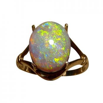 Large Opal Ring 14k Gold Red Yellow Dark Crystal