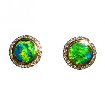 Round Opal and Diamond Stud Earrings 14k Gold Green Blue