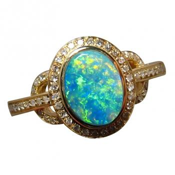 Green and Gold Opal Diamond Ring 14k Gold