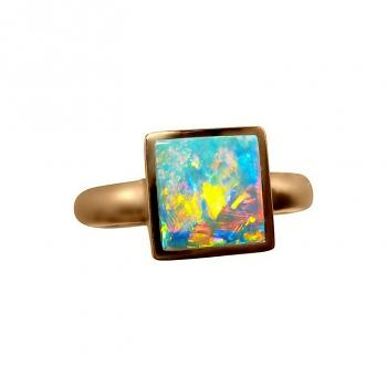 Opal Ring 14k Gold Square Colorful Stone