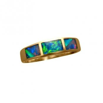 Inlay Opal Ring 14k Yellow Gold Three Unique Stones