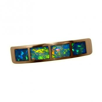 Opal Inlay 14k Gold Ring Four Bright Stones
