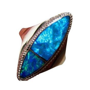 Marquise Blue Opal Silver Ring