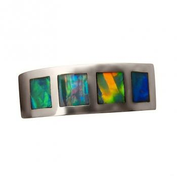 Sterling Silver Inlay Opal Ring Four Brilliant Multi Color Gems