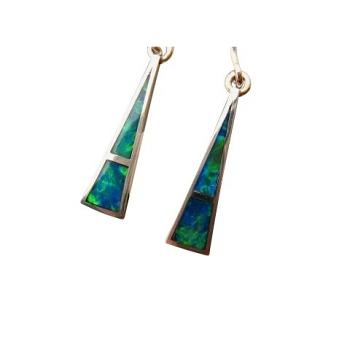 Green Blue Opal Earrings 925 Silver Triangle Brilliant Inlay Gems