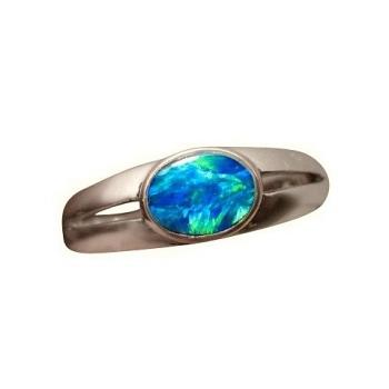 Blue Opal Ring 925 Sterling Silver