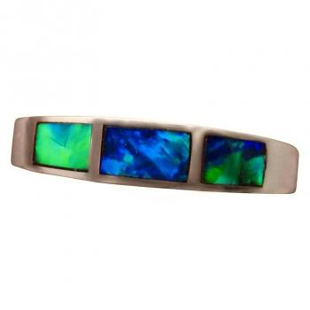 Inlay Blue Opal Ring 925 Sterling Silver