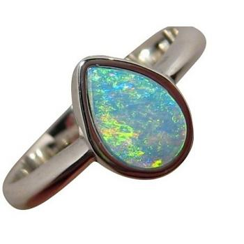 Sterling Silver Pear Opal Ring