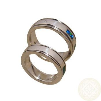 Opal Rings Set 925 Silver Matching Bands